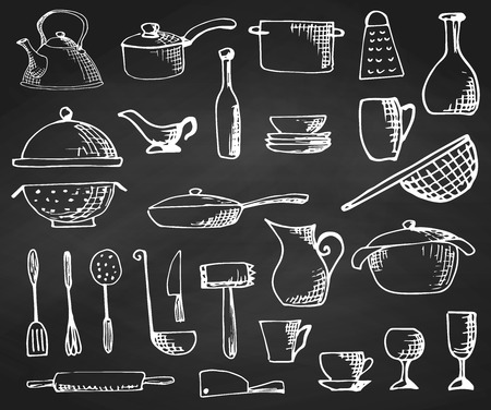 Set of hand drawn cookware on the chalkboard.  Vector illustration.