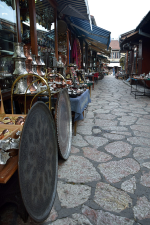 Bazaar with souvenirs in old Sarajevo marketplace. Sarajevo, Bosnia and Herzegovina.