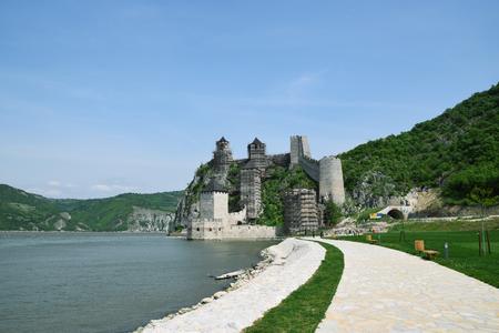 Renovation of the Golubac fortress. Serbia, Balkans. 에디토리얼