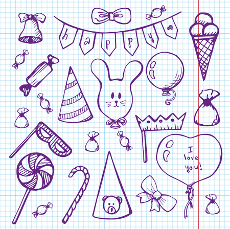 Balloons and gifts on a notebook. Vector illustration in a sketch style