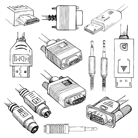 Media cables set: HDMI, VGA, DVI, DisplayPort, S-Video, Audio Jack in sketch style. Vector illustration