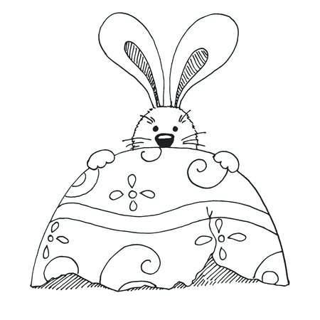 Sketch of Easter bunny and Easter egg.