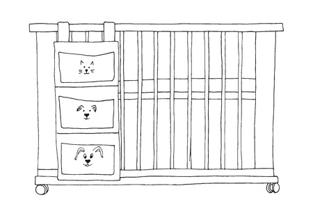 Sketch of a cot on a white background. Vector Stock Illustratie