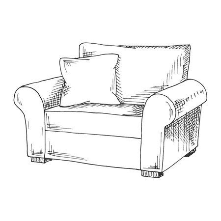 Hand drawn a soft chair with a pillow. Vector illustration in sketch style.