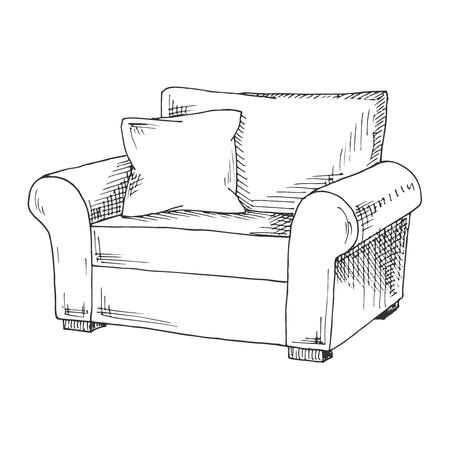 Ręcznie rysowane miękkie krzesło z poduszką. Ilustracja wektorowa w stylu szkicu.