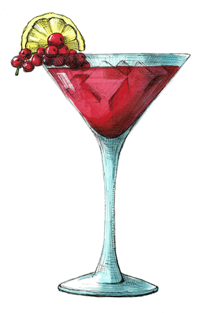 Sketch cocktail isolated on white background. Illustration drawn by markers.