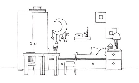 Childrens room. Childrens furniture. Bunk bed, table and chair. Hand drawn vector illustration of a sketch style. Stock Illustratie