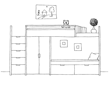 Childrens room. Childrens furniture. Hand drawn vector illustration of a sketch style.
