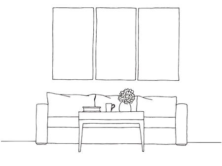 Linear sketch of an interior. Hand drawn vector illustration of a sketch style. Stock Illustratie