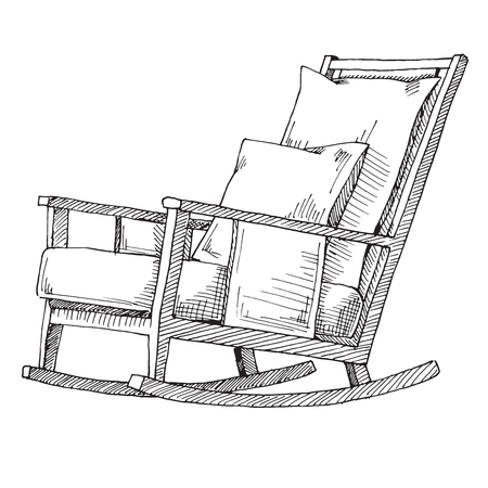 Chaise berçante isolée sur fond blanc. Dessinez une chaise confortable. Illustration vectorielle.
