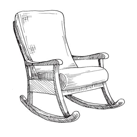 Chaise berçante isolée sur fond blanc. Dessinez une chaise confortable. Illustration vectorielle. Vecteurs