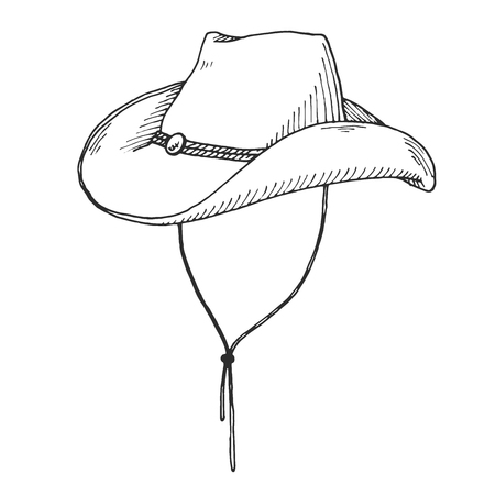 Sketch of cowboy hat isolated on white background. Vector
