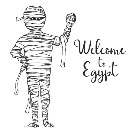 Sketch cartoon mummy. Vector illustration. Text Welcome to Egypt.