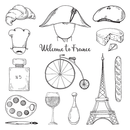 Conjunto de elementos de la cultura francesa. Bienvenido a Francia. Ilustración de vector de estilo boceto. Ilustración de vector