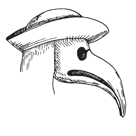 Sketch plague doctor head profile, with bird mask and hat.