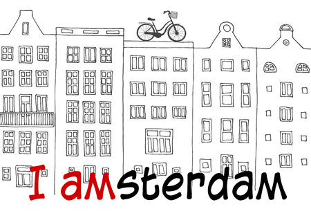 Amsterdam, Netherlands. Sketch dutch traditional historical buildings. Vector illustration