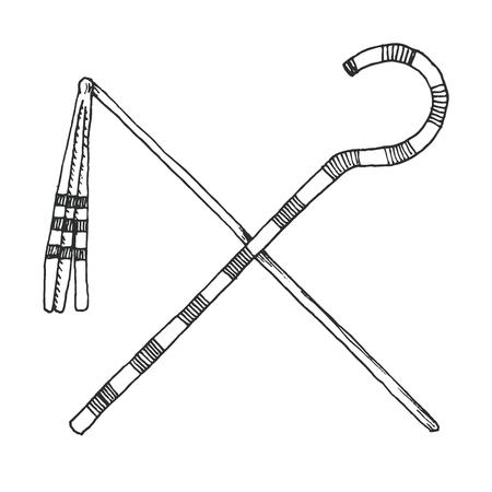 Schets een Crook And Flail, oorspronkelijk de attributen van de god Osiris die het insigne van faraonische autoriteit werden.