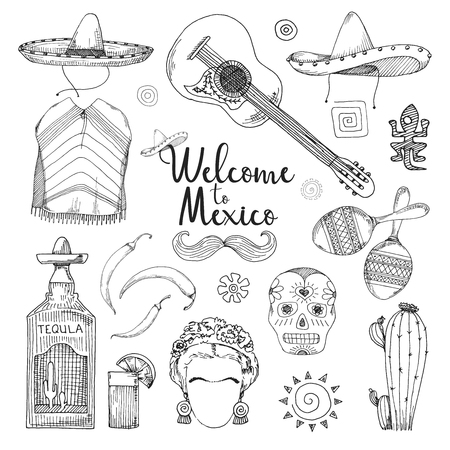 Set of elements of Mexican culture. Welcome to Mexico. Vector illustration in sketch style.