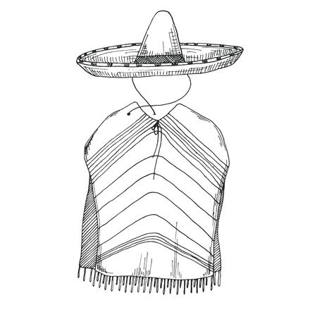 Sketch of poncho and sombrero. Vector illustration.  イラスト・ベクター素材