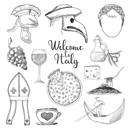 Set of elements of Italian culture. Welcome to Italy. Vector illustration in sketch style.