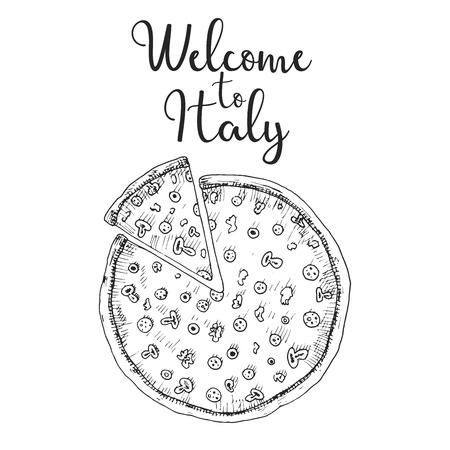 Sketch pizza. Welcome to Italy. Vector illustration