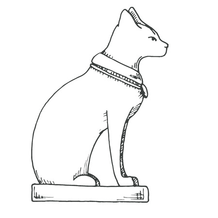The sketch of Bastet. Egyptian cat isolated on white background. Vector Illustration