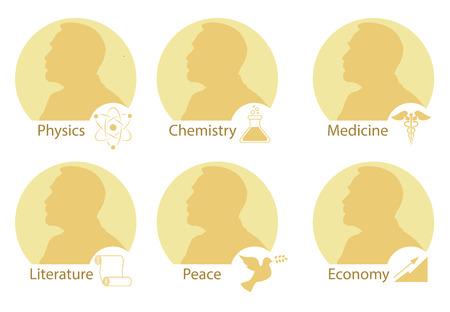 Set di medaglie Nobel stilizzate. Sagoma del Nobel in uno stile piatto. Illustrazione vettoriale.