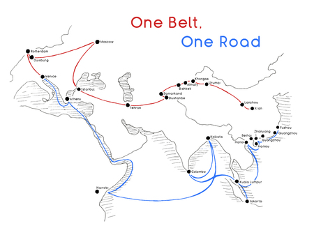 One Belt One Road new Silk Road concept. 21st-century connectivity and cooperation between Eurasian countries. Vector illustration. Stock Illustratie