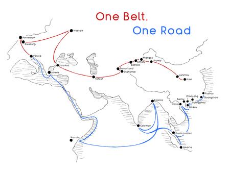 One Belt One Road nieuw Silk Road-concept. 21e-eeuwse connectiviteit en samenwerking tussen Euraziatische landen. Vector illustratie. Stockfoto - 102870403