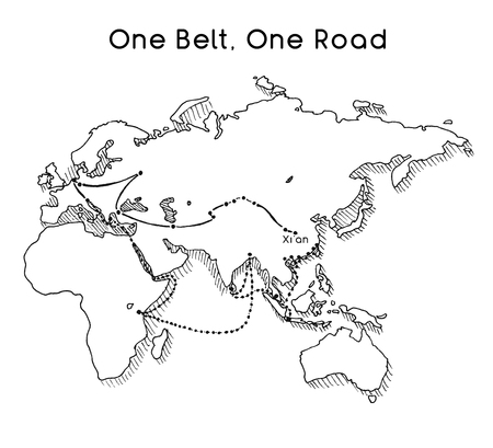 One Belt One Road new Silk Road concept. 21st-century connectivity and cooperation between Eurasian countries. Vector illustration. Ilustração