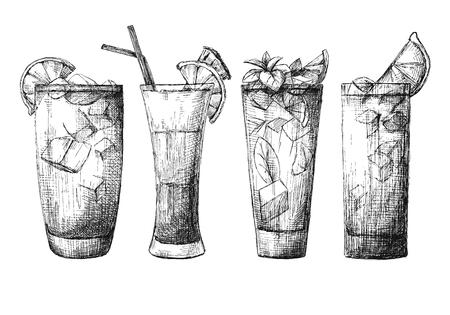 Juego de vasos diferentes, cócteles diferentes. Ilustración de vector de un estilo de dibujo.