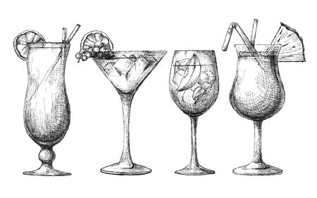 Juego de vasos diferentes, cócteles diferentes. Ilustración de vector de un estilo de dibujo. Ilustración de vector