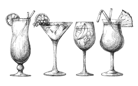 Set of different glasses, different cocktails. Vector illustration of a sketch style.