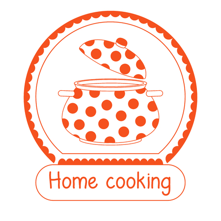 Logo for the restaurant of home cooking. Inscription Home cooking. Vector illustration in a linear style.