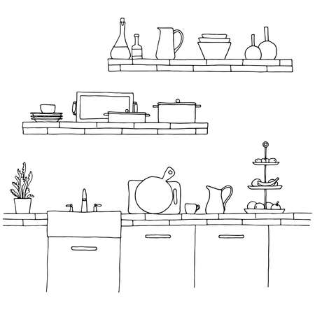 Kitchen worktop with sink. The sketch of the kitchen Illustration