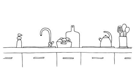 Kitchen worktop with sink. The sketch of the kitchen Фото со стока - 114983557