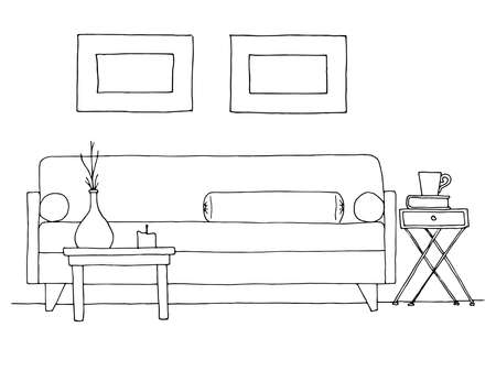 Linear sketch of an interior. Hand drawn vector illustration of a sketch style. 일러스트