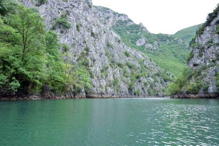 Matka Lake in Matka canyon. Tourist attraction near Skopje city, Macedonia.