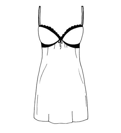 Sketch lingerie. Sexy nightgown. Vector illustration