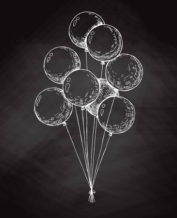 Group of balloons on a string. Hand drawn chalk on the board. Vector illustration Ilustração