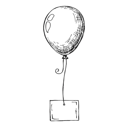 Sketch of a balloon with a card on a rope. Place for text, congratulations. Vector illustration Vektoros illusztráció