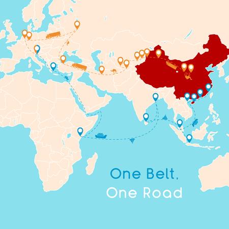 One Belt One Road nuovo concetto di Silk Road. Connettività e cooperazione del 21 ° secolo tra i paesi eurasiatici. Illustrazione vettoriale.