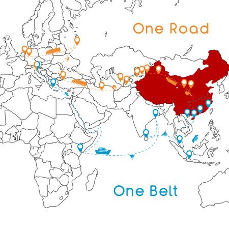 One Belt One Road nuevo concepto Silk Road. Conectividad y cooperación del siglo XXI entre países euroasiáticos. Ilustración de vector.