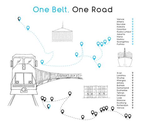 One Belt One Road neues Seidenstraßenkonzept. Konnektivität und Zusammenarbeit zwischen eurasischen Ländern im 21. Jahrhundert. Vektorillustration.