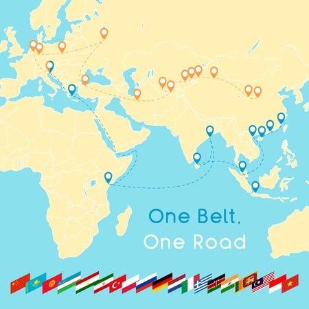 One Belt One Road nowa koncepcja Jedwabnego Szlaku. Łączność i współpraca XXI wieku między krajami euroazjatyckimi. Ilustracja wektorowa.