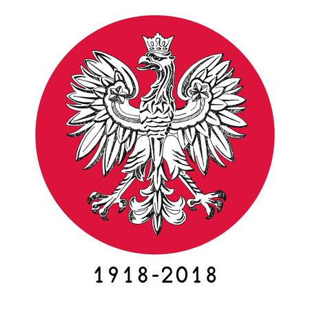 Illustration for the centennial of independence of Poland. Vector illustration Illusztráció