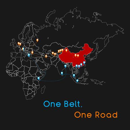 One Belt One Road nuovo concetto di Silk Road. Connettività e cooperazione del 21 ° secolo tra i paesi eurasiatici. Illustrazione vettoriale. Vettoriali