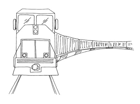 Sketch of freight train isolated on white background. Vector Illustration