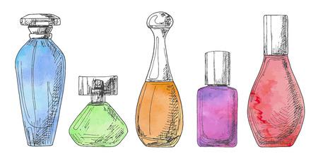Set di diverse bottiglie di profumo. Illustrazione vettoriale di uno stile di schizzo. Acquerello stilizzato. EPS 10 Vettoriali
