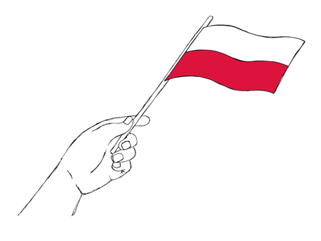 Flag of Poland in hand. Vector illustration of a sketch style.